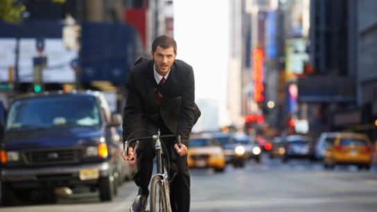 Bicycling to Work Lowers CVD Risk