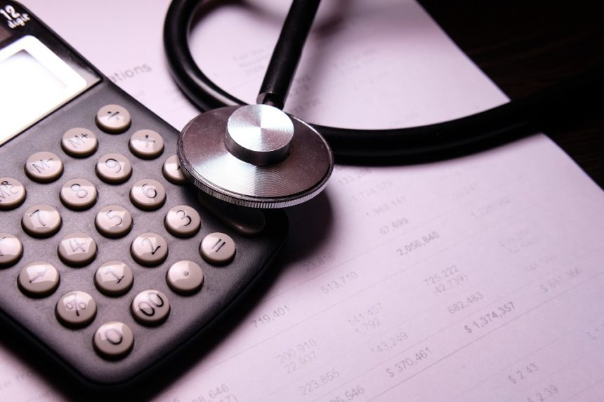 stethoscope and a calculator