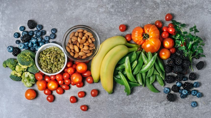 Fruits, vegetables, nuts, healthy food, nutrition