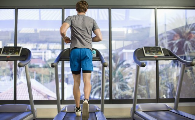 Man on treadmill, exercise