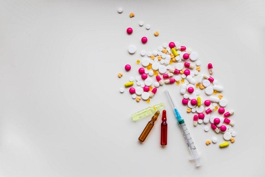 Medicine, Pills and Intravenous syringe