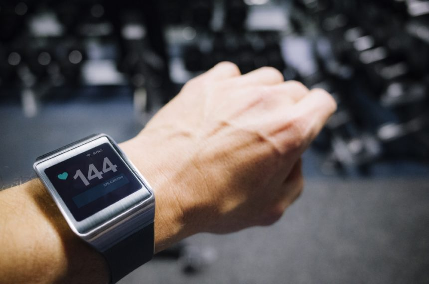 wearable fitness tracker on wrist