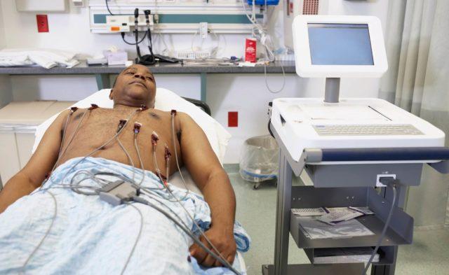 Black male in hospital, ECG, myocardial infarction