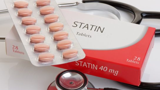 pack of statins with stethoscope