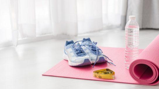 exercise, sneakers, yoga mat