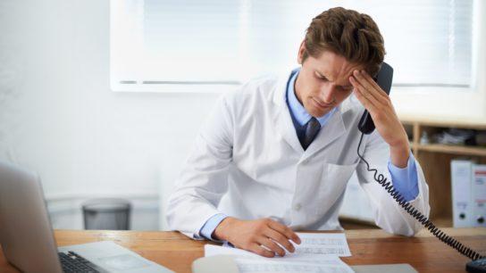 Doctor looking uncertain